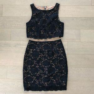 Bailey 44 Black Lace Illusion Dress